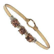 Hammered Gold Wire Wrapped Rhinestone Latch Bracelet - Rose Crystal