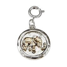 Gold Elephant on Hammered Silver Coin Charm