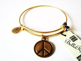"Authentic Bella Ryann ""Peace Symbol "" adjustable wire bangle russian gold. (S..."