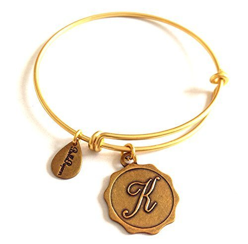 "Bella Ryann Letter ""K"" Gold Charm Bangle Bracelet"