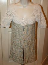 BCBG Maxazria Short Sleeve Long Sweater Medium Off White Crochet Top Mul... - $39.99