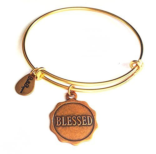 "Bella Ryann ""Blessed"" Gold Charm Bangle Bracelet"