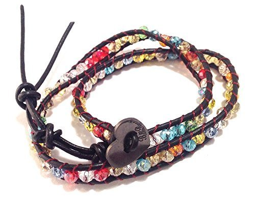 Bella Ryann Double Wrap Bracelet Multi Color Crystal with Dark Brown Leather