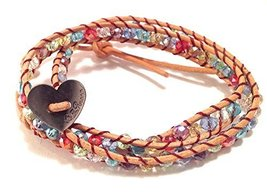 Bella Ryann Double Wrap Bracelet Multi Color Crystal with Tan Brown Leather