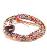 Bella Ryann Double Wrap Bracelet Multi Color Crystal with Tan Brown Leather - $17.32