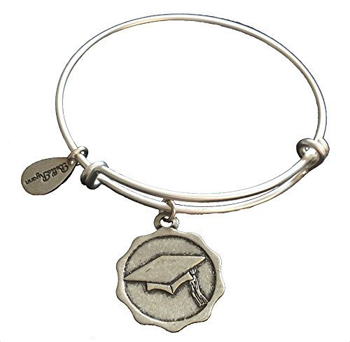 Bella Ryann Graduation Cap Silver Charm Bangle Bracelet