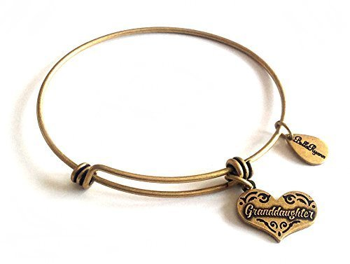 Bella Ryann Granddaughter Heart Gold Charm Bangle Bracelet
