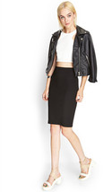 Forever 21 Black Bandage Zippered Knit Pencil Skirt Size Medium BNWT - $10.68 CAD