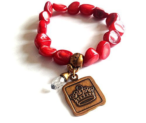 Bella Ryann Crown Jewels Red Coral Bracelet Gold Crown Charm and Crystal