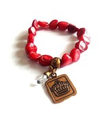 Bella Ryann Crown Jewels Red Coral Bracelet Gold Crown Charm and Crystal - $24.25