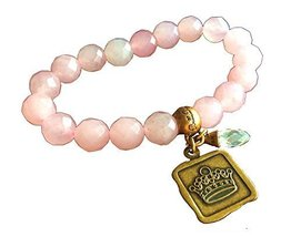 Bella Ryann Crown Jewels Pink Dyed Quartz Jade Bracelet Gold Crown Charm and ...