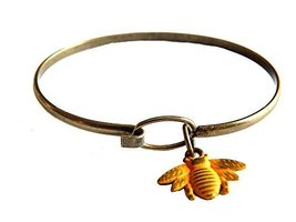 Gleeful Peacock Bee Charm Bangle Bracelet Yellow Hand Painted