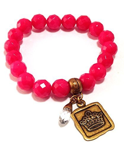 Bella Ryann Crown Jewels Pink Dyed Jade Bracelet Gold Crown Charm and Crystal