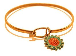 Sunflower Charm Bangle Bracelet (Blue)