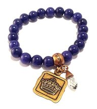 Bella Ryann Crown Jewels Tanzanite Dyed Jade Bracelet Gold Crown Charm and Cr...