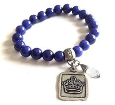 Bella Ryann Crown Jewels Tanzanite Dyed Jade Bracelet Silver Crown Charm and ...