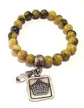 Bella Ryann Crown Jewels Yellow Howlite Bracelet Silver Crown Charm and Crystal