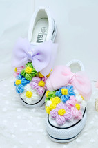 Floral Sneakers,Girls Crystals Loafers,Crystals Sneakers,Women/Girls Canvas - $68.00