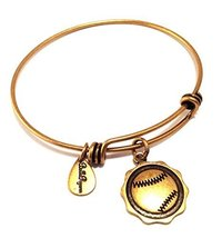 Bella Ryann Gold Baseball Charm Bangle Bracelet
