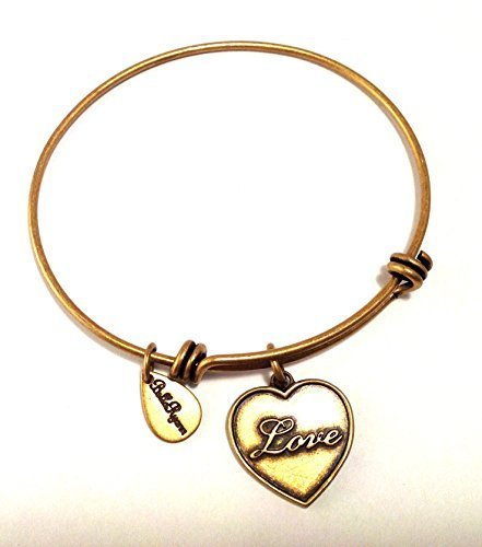 Bella Ryann Gold Heart Love Charm Bangle Bracelet