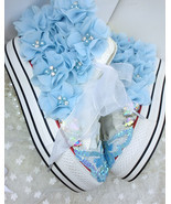 Blue Wedding Sneakers,Summer Sneakers,Crystals Sneakers,Women/Girls Canvas - $68.00