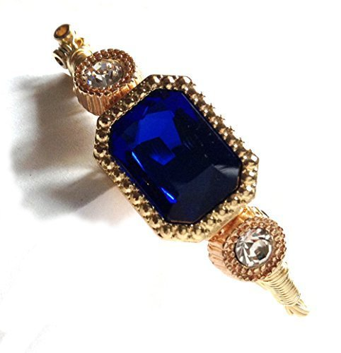 Guitar Strings Bracelet with Royal Blue Rectangular Centerpiece Gold Wire Wra...
