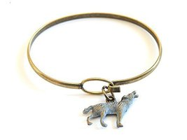 Howling Wolf Charm Bangle Bracelet (Grey)