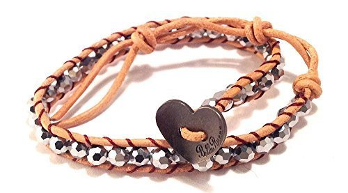 Bella Ryann Wrap Bracelet Silver Crystal with Tan Brown Leather