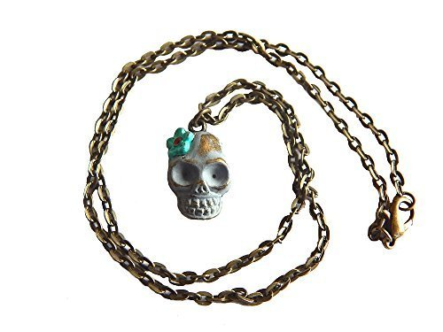 Day of the Dead Skull Necklace - Ash Gray