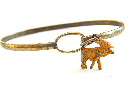 Moose Charm Bangle Bracelet (Yellow)