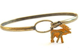 Gleeful Peacock Moose Charm Bangle Bracelet Yellow Hand Painted