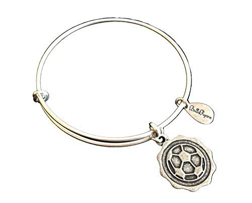 Bella Ryann Soccer Ball Silver Charm Bangle Bracelet