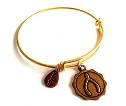 Bella Ryann Wishbone Round Gold Charm Bangle Bracelet