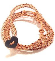 Bella Ryann Triple Wrap Bracelet Iridescent Amber Crystal with Tan Brown Leather