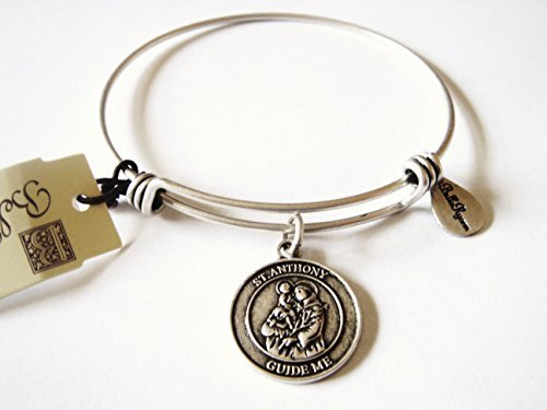 "Authentic Bella Ryann ""St. Anthony"" adjustable wire bangle silver (Same day s..."