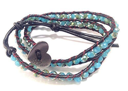 Bella Ryann Double Wrap Bracelet Aqua Gold Crystal with Dark Brown Leather