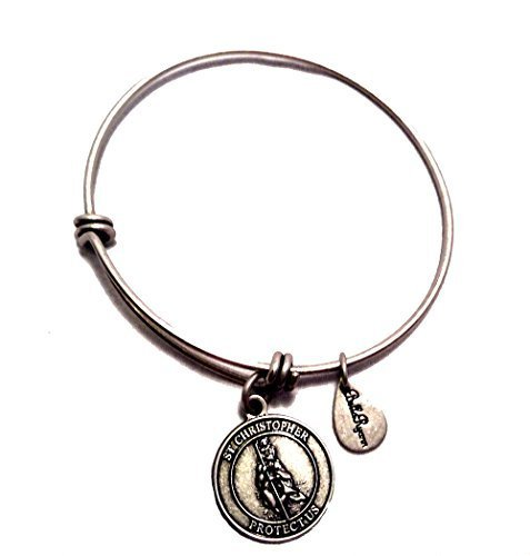 Bella Ryann St. Christopher Silver Charm Bangle Bracelet
