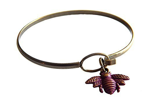 Gleeful Peacock Bee Charm Bangle Bracelet Purple Hand Painted