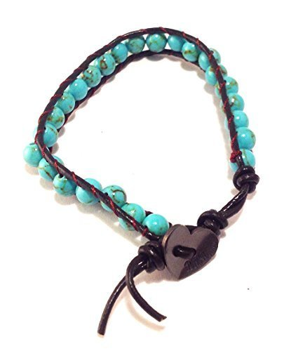 Bella Ryann Wrap Bracelet Turquoise with Dark Brown Leather
