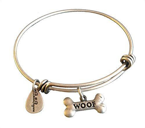 Bella Ryann Dog Bone Woof Silver Charm Bangle Bracelet
