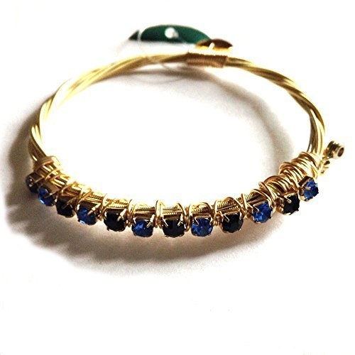 Guitar Strings Bracelet with Multi Blue Mini Crystals Wire Wrapped Size 7.5
