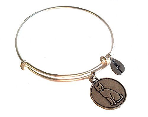 Bella Ryann Cat Silver Charm Bangle Bracelet