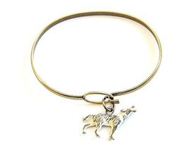 Howling Wolf Charm Bangle Bracelet (White)