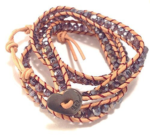 Bella Ryann Triple Wrap Bracelet Iridescent Purple Crystal with Tan Brown Lea...