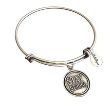Bella Ryann Stay Strong Round Silver Charm Bangle Bracelet