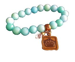 Bella Ryann Crown Jewels Robins Egg Blue Dyed Jade Bracelet Gold Crown Charm ...