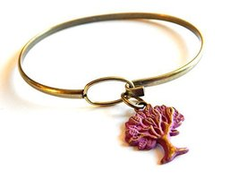 Gleeful Peacock Tree of Life Charm Bangle Bracelet Pink Hand Painted
