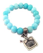 Bella Ryann Crown Jewels Robins Egg Blue Dyed Jade Bracelet Silver Crown Char...