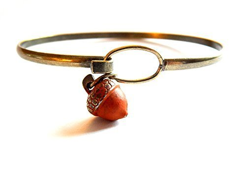 Acorn Tree Charm Bangle Bracelet (Orange)