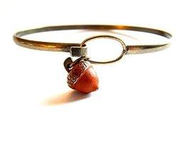 Acorn Tree Charm Bangle Bracelet (Orange)